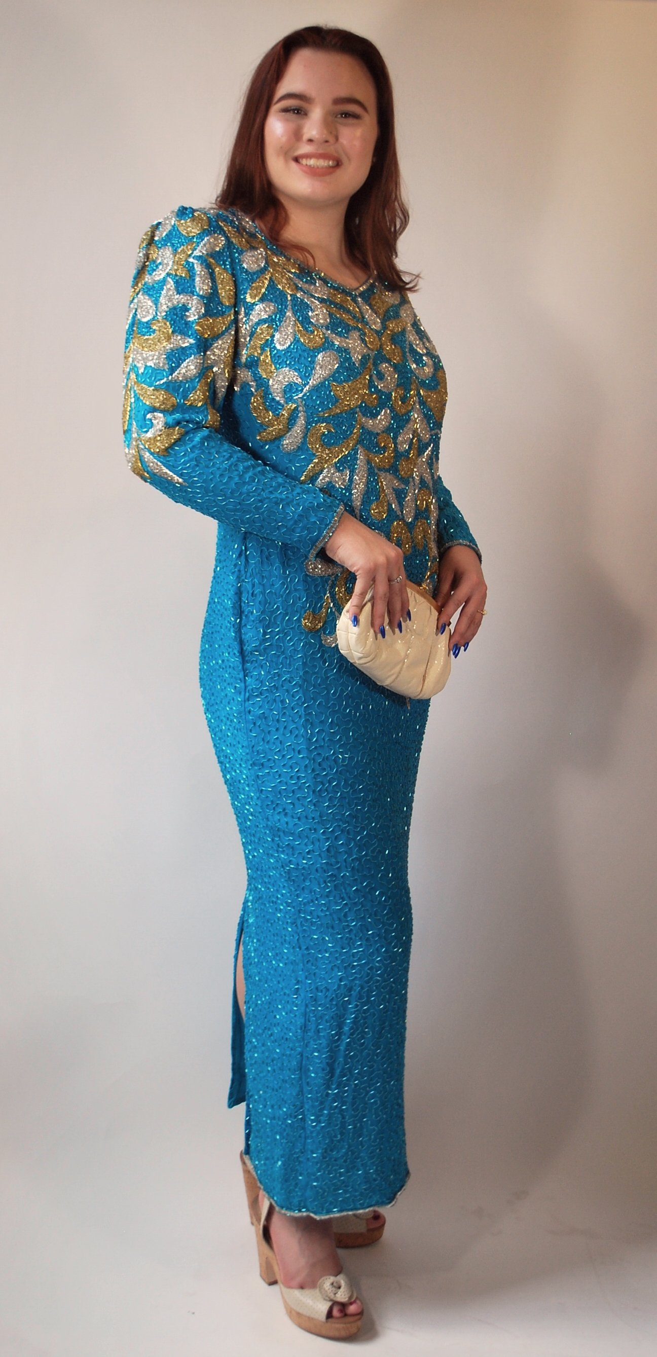 Turquoise Beaded Evening Gown - Bambi Deville